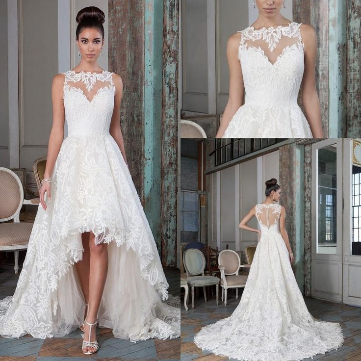 2016 justin alexander high low lace wedding dresses bateau for Plus size illusion wedding dress