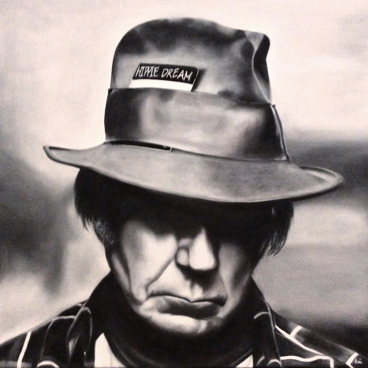Oil painting of Neil Young, 60 x 60 cm, 2016 Mirjam Kämmerer