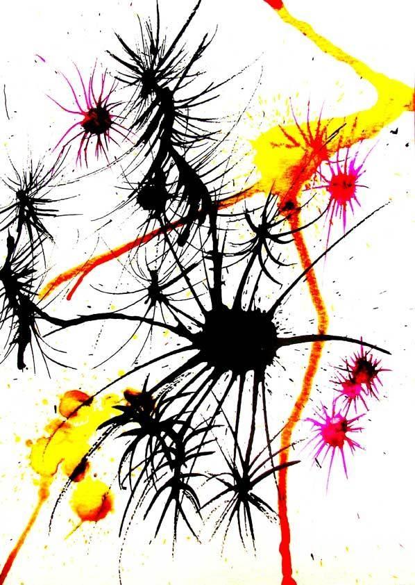 Alien Flower 3, mixed media by Lindsay Kokoska