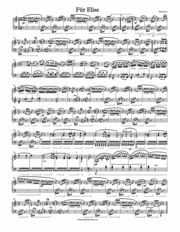 1 Page Version of Beethoven's Fur Elise. Free Sheet Music.