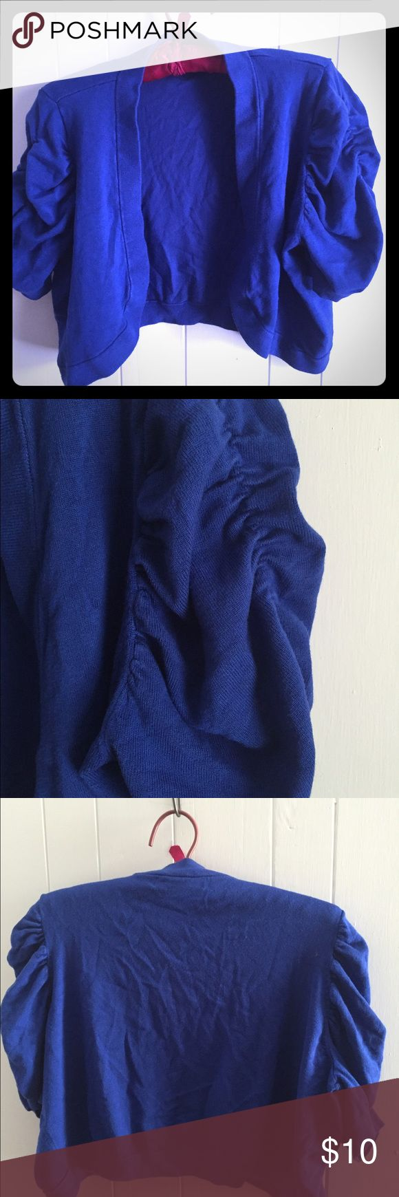 Macy's INC shrug blue 1x Macy's INC shrug in a very cool electric blue. 1x. Washed and worn once. Smoke free pet friendly home. INC International Concepts Sweaters Shrugs & Ponchos