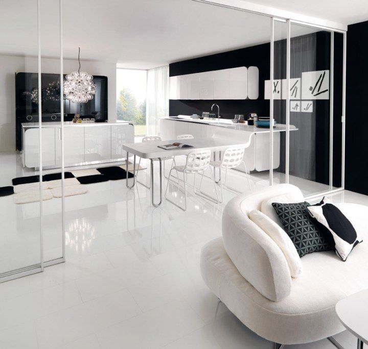 Cocina en blanco y negro abierta al sal n con pared de - Cocinas en blanco y negro ...