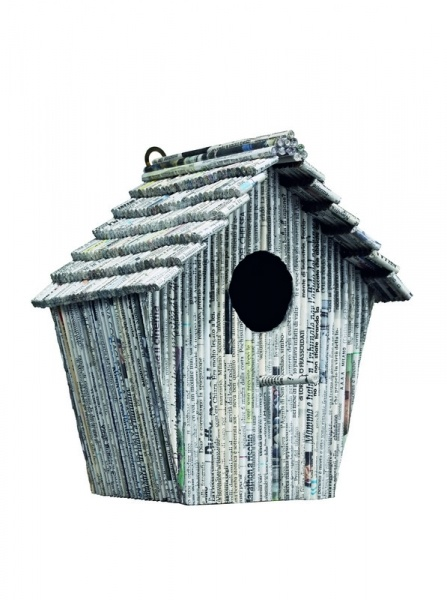 Birdhouse made from recycled newspaper