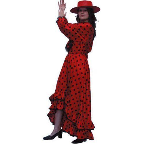 Carnavalskleding Spaanse jurk rood voor volwassenen