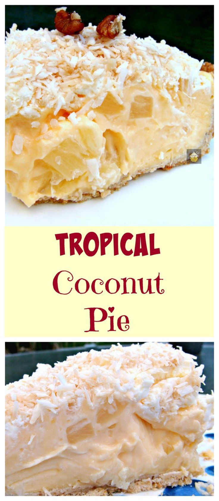 TROPICAL COCONUT PIE! It is so creamy and has a rich coconut flavor, laced throughout with juicy pineapple chunks and a crispy pie crust. Heavenly!
