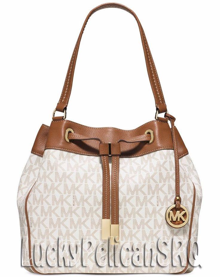 Michael Kors MK Signature Marina Large Shoulder Bag Handbag Vanilla Beige NWT #MichaelKors #ShoulderBag