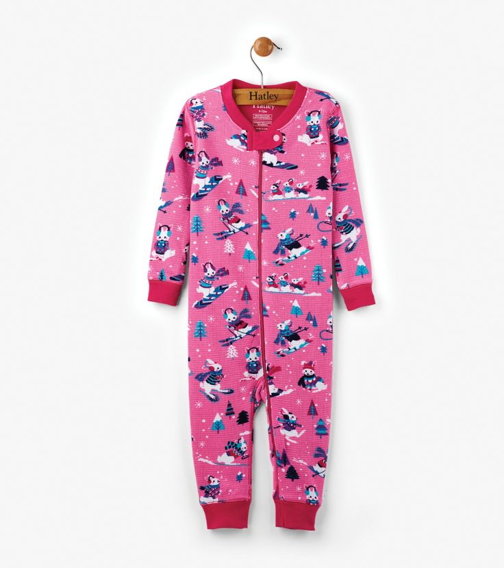 Winter Sports Bunnies Organic Cotton Baby Waffle Coverall  | Hatley Canada