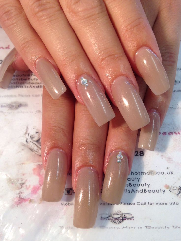 Simple long square nails by Diamond dolls beauty