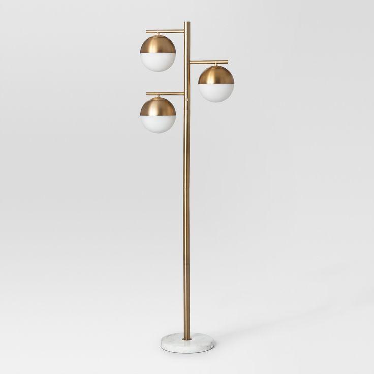 Geneva Glass Floor Lamp Triple Globe (Includes Cfl Bulb) - Brass - Project 62