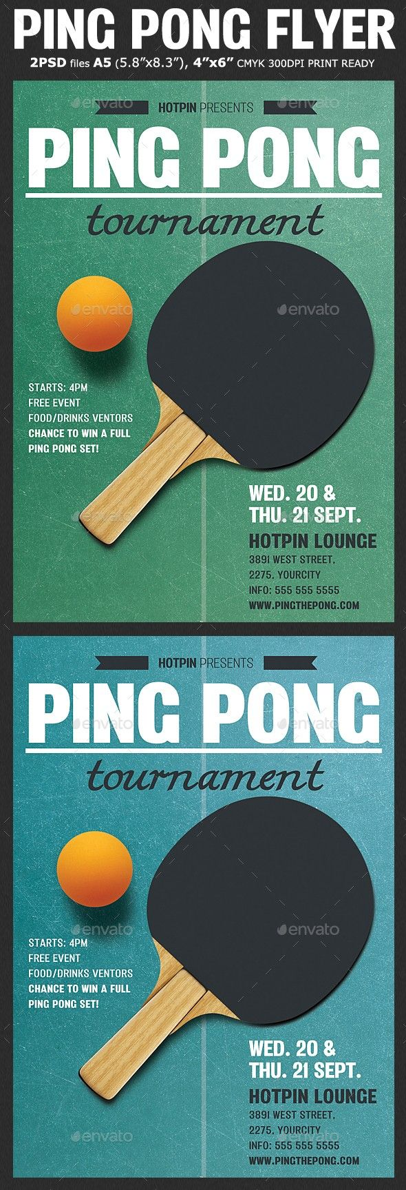 ping pong flyer template flyer table
