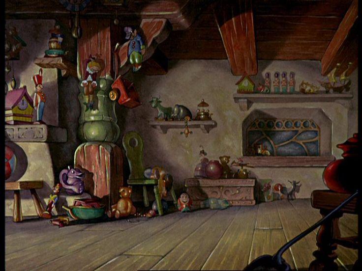 Geppetto 39 s house empty backdrop pinocchio disney for Wallpaper esta home