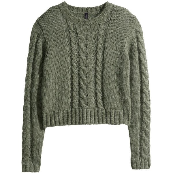H&M Cable-knit jumper ($7.68) ❤ liked on Polyvore featuring tops, sweaters, shirts, jumpers, long sleeve sweaters, green jumper, cable knit sweater, cableknit sweater and long sleeve shirts
