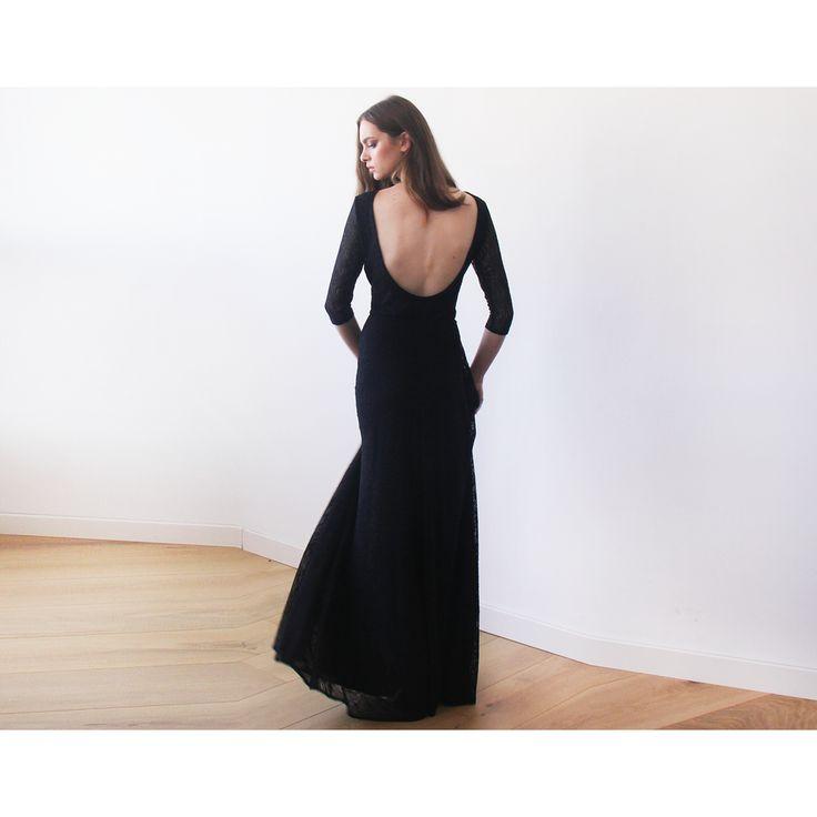 Black Floral lace Maxi Gown With Open-Back (Bordeaux)