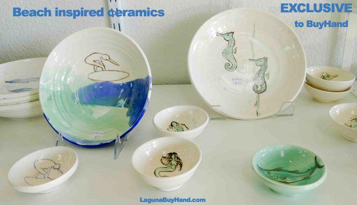 #beach #mermaids #seahorse #ceramics #handmade #keepsake exclusive to #buyHand #lagunabeach #oc #madeinAmerica #supportFAMILIESnotfactories