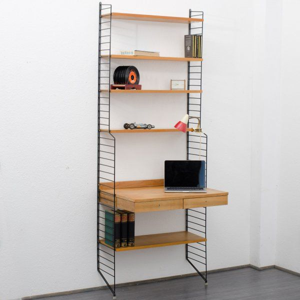 storage Original 1960s String-shelf, Design Nisse Strinning, ashwood, with container/desk (no. 6231) Karlsruhe Velvet-Point