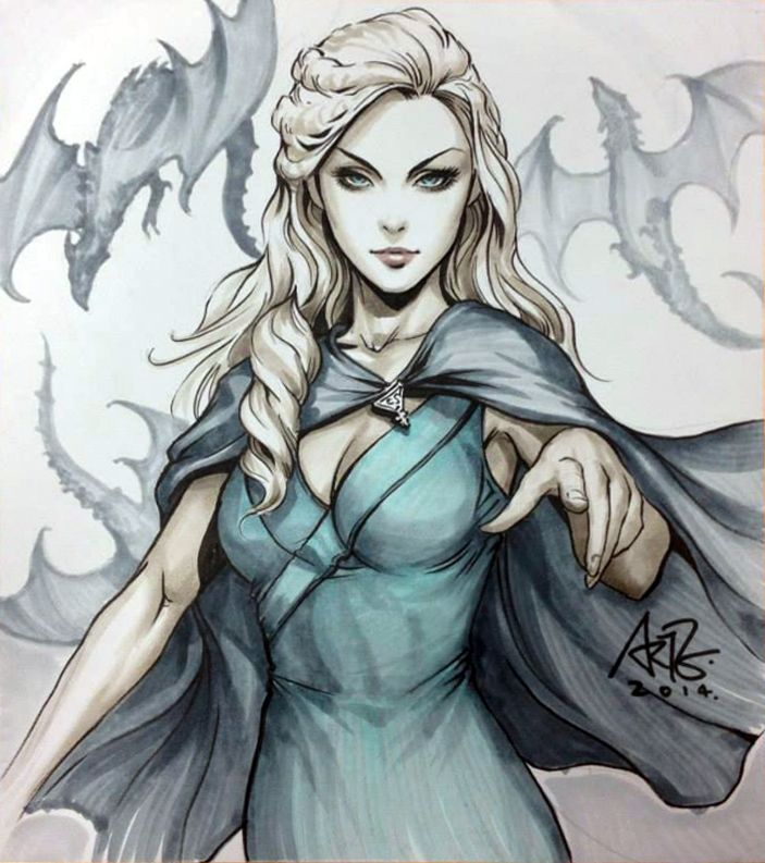 Daenerys Targaryen by Artgerm (It's labeled Margaery Tyrell by the artist but the Tyrell house is roses and Margaery is auburn.)