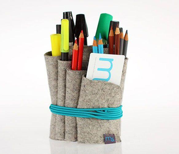 Wool Felt Organizer: Wool Felt, Masiosar Studios, Se Haga, Desks Organizations, Haga Bola, Bola Anti-Stress, Home Offices, Felt Organizations, Pencil Holders