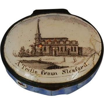 """""""A trifle from Sleaford"""" – a Bilston, Battersea enamel patch box, c. 1780. Historically in Staffordshire, Bilston is a town in the English county of"""