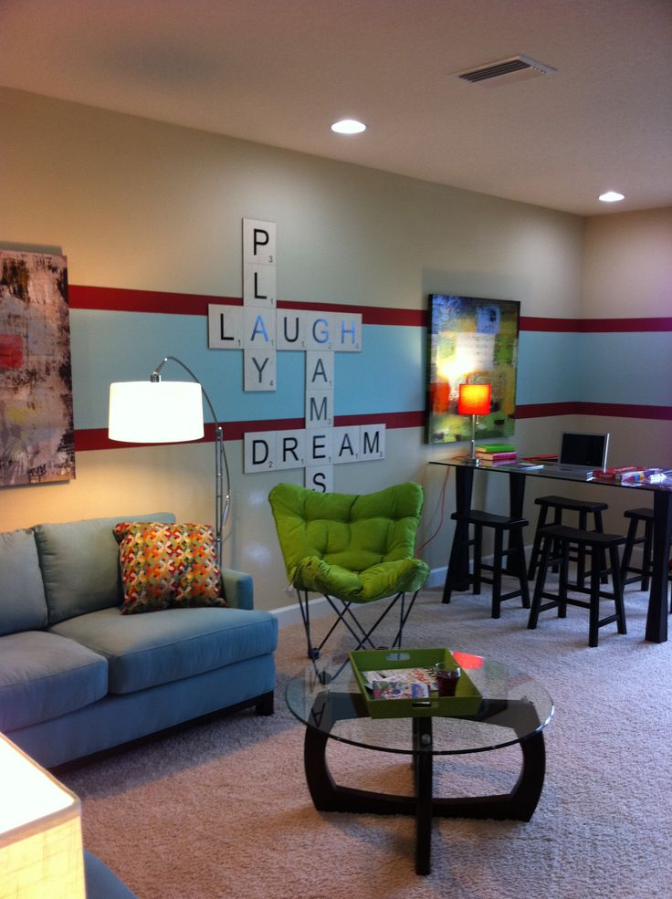 game room/ kids play room. Love the scrabble letters. So doing this!   ***would LOVE this with orange and green***