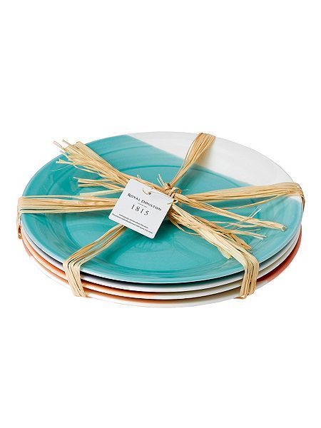 1815 bright colours set of 4 china plates  27cm