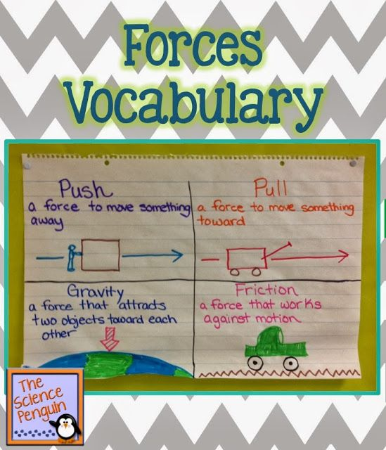 Science Penguin's Science Plans: Forces Vocabulary Chart
