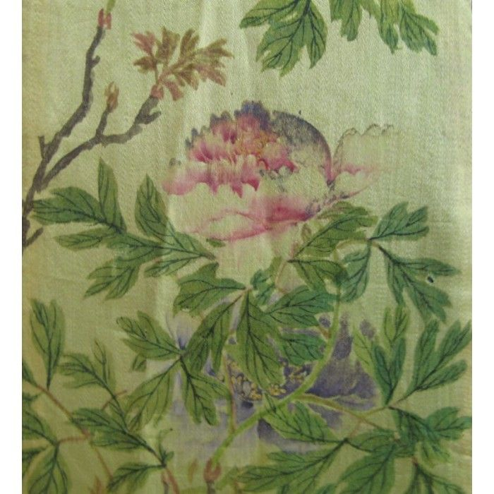 """Antique Chinese Silk Zai Shui 'Tie"""" with exquisite botanical painting. 