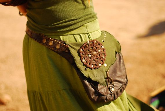 PIXIE UTILITY BAG, handmade forest elf hippie festival, green brown textures, 3 in 1 use it as pocket-belt, holster or shoulder bag