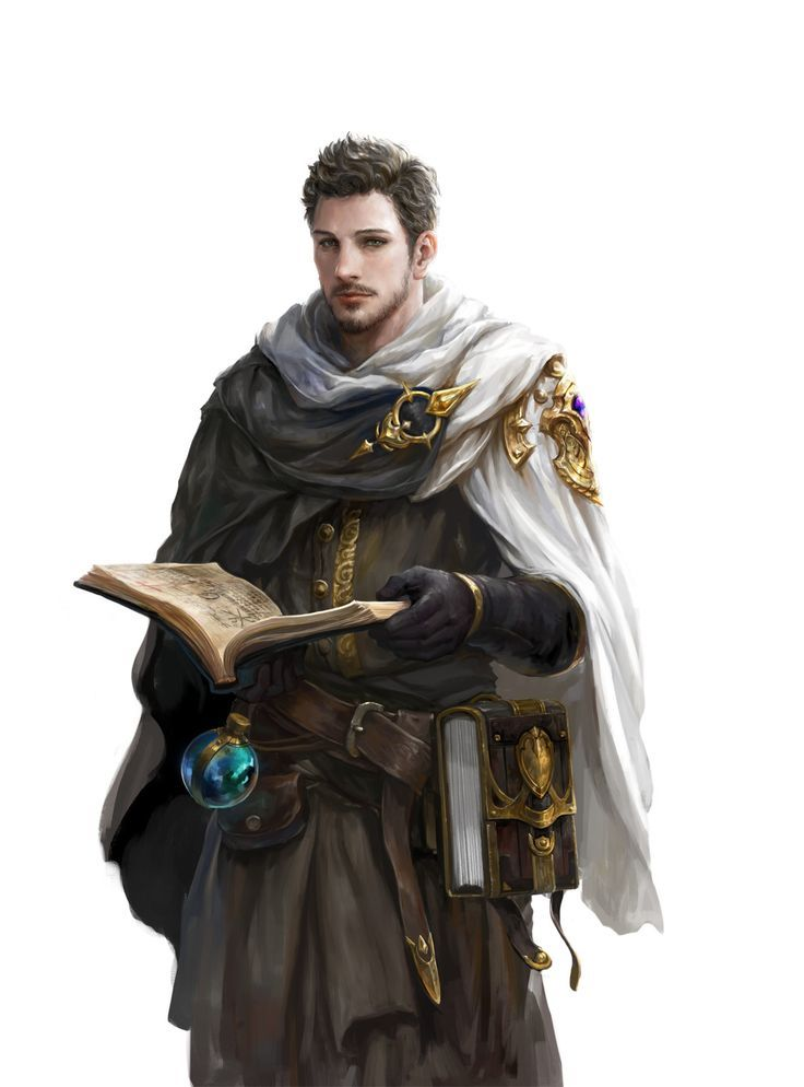 wizard / male spell caster with spellbook and flask male ...