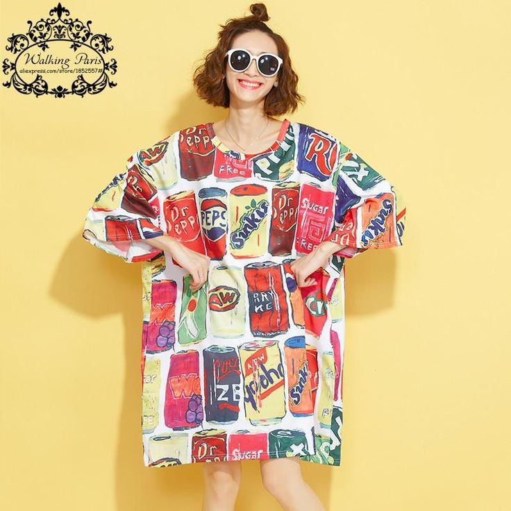 Big Size Women T-Shirt Summer Cotton Tops&Tees Colorful Bottle Pattern Print Casual Fashion Female Long Plus Size Fat Tops 5XL