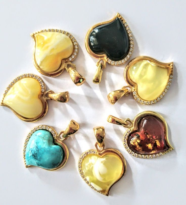 Pendants hearts with Baltic amber or turquoise, gold plated silver925