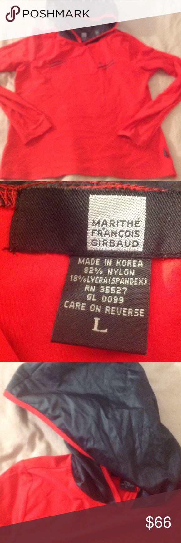 CHIC RARE VINTAGE MARITHE FRANCOIS GIRBAUD Such an awesome piece by Designer MARITHE FRANCOIS GIRBAUD in excellent new condition size L but it would fit me at a size medium this is no t a loose fit. Would be great for a junior as well. I love it. It is so chic!! One of a kind. The hood is raincoat material the red is a vibrant gorgeous color Tops Sweatshirts & Hoodies