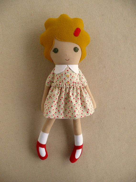 Fabric Doll Rag Doll Blond Haired Girl in Old by rovingovine