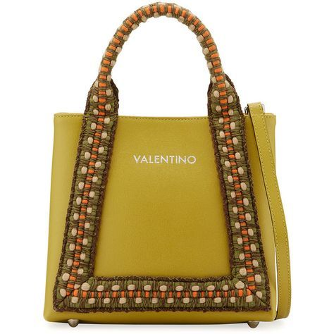 Valentino By Mario Valentino Audrey Saffiano Leather Woven Rope Trim... ($432) ❤ liked on Polyvore featuring bags, handbags, tote bags, green, yellow tote, yellow tote bag, zipper tote, satchel bag and woven tote