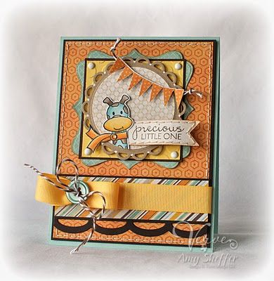 Love the colors and the layering on this card. could be a baby card, birthday card or pretty much anything! if for a bigger card, use the top note die ends for the square frame.