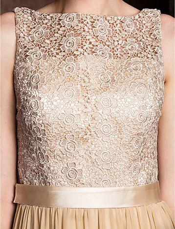 Sheath/Column Bateau Floor-length Georgette And Lace Bridesmaid Dress (2048887) - BRL R$ 341,97