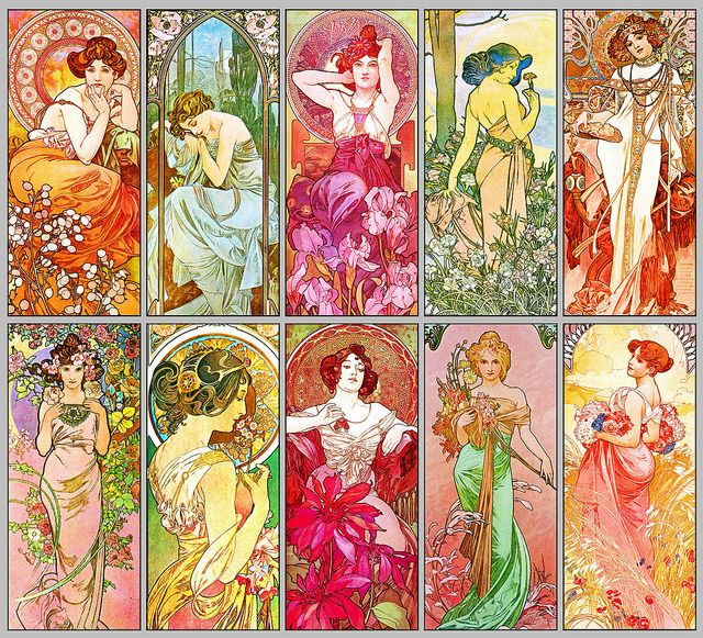 Montage of works by Czech artist Alphonse Mucha 1939. Montage by Falcon Writing, via Flickr