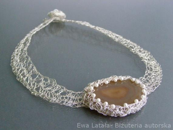 BEAUTIFUL NECKLACE with AGATE and pearls - original, hand made, in a single copy by EcoDyeing on Etsy