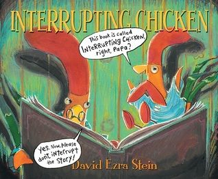 Interrupting Chicken by David Ezra Stein. This 2011 Caldecott winner is a great book to add to a unit on fairy tales and fables. Tier 2 words include: interrupt, panic, involved, and nibble.