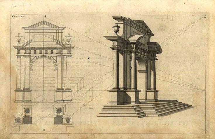 Costruzione prospettica di un arco trionfale #architettura #prospettiva #arco #disegno #corpo #illustrazione