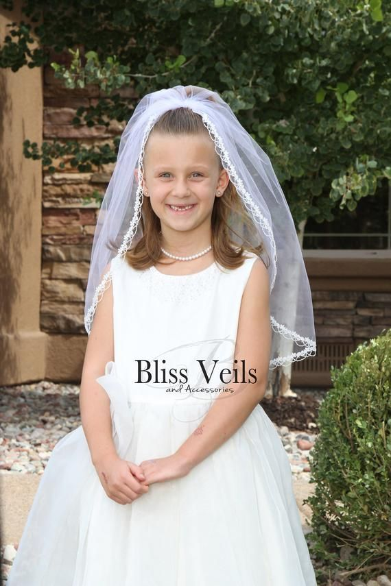 First Communion Veil with Lace Edge Several Lengths /& Colors Fast Shipping!