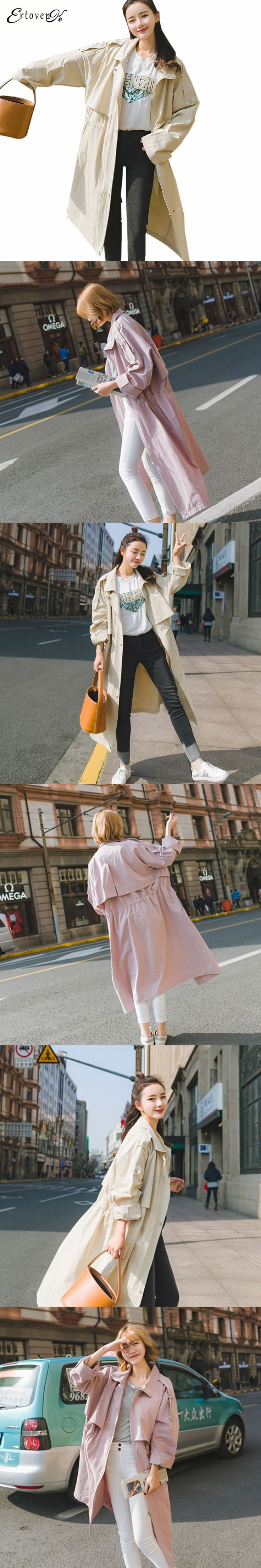 2017 Spring Autumn New Women Windbreaker Casual Clothing Large-size Coat Long-sleeved Temperament Outerwear abrigos mujerONE856