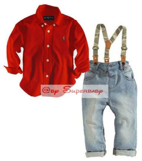 Set Polo 3in1 Suspender Shirt Red