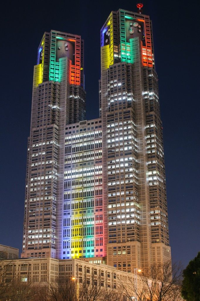 Special lighting in Tokyo Metropolitan Government for 2020 TOKYO Olympics