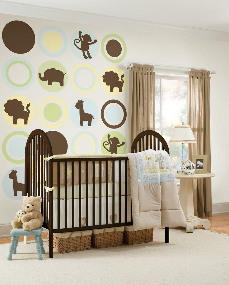 Baby Nursery Cheerful Of Animals Wall Decals In Baby Nursery Combined With Rustic Cradle And