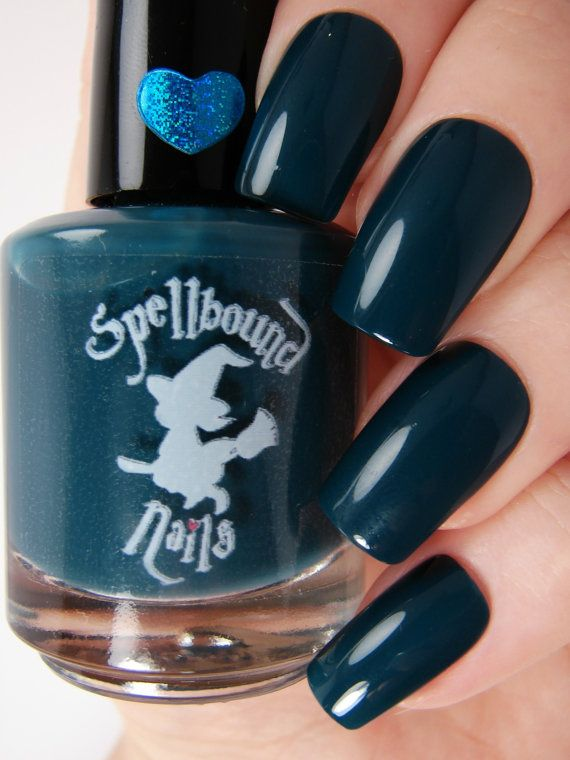 Witching Hour  Dark Blue Teal Creme Nail Polish by SpellboundNails