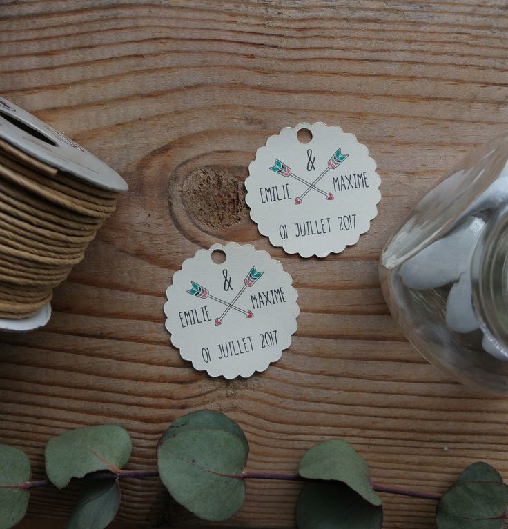 10 étiquettes dragées - Mariage  - Remerciement - papier ivoire - Boho style
