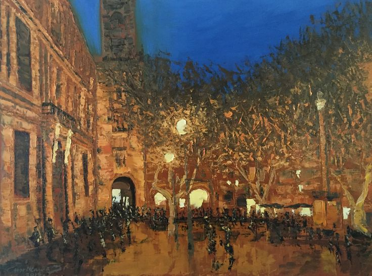 """""""Plaza at Aix en Provence"""" by Gabriela Horikawa. Oil on canvas 30"""" x 40"""" x 1.5"""" $1,800 plus S&H. Available through my website at ghorikawa.com"""