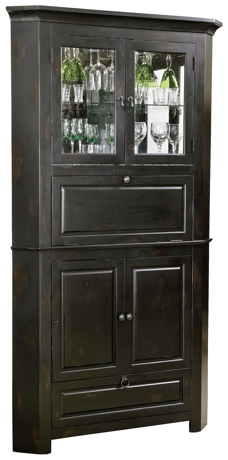 Rustic Corner Bar Cabinet - Distressed Wine & Bar Cabinet