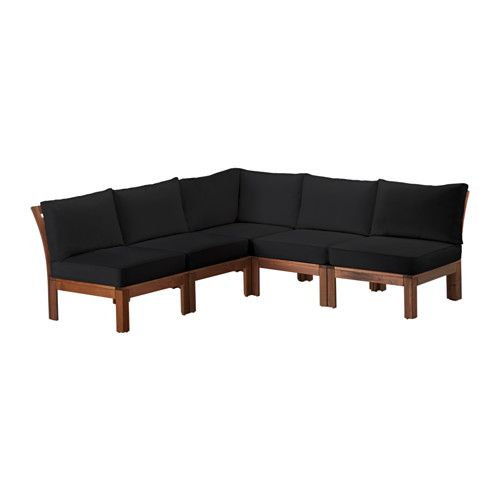 IKEA - ÄPPLARÖ, 5-seat sectional, outdoor, brown stained/Kungsö black, , By combining different seating sections you can create a sofa in a shape and size that perfectly suits your outdoor space.For added durability and so you can enjoy the natural expression of the wood, the furniture has been pre-treated with several layers of semi-transparent wood stain.The seat cushion provides great comfort, thanks to its thick high resilience foam filling.You can just shake off water from a light r...