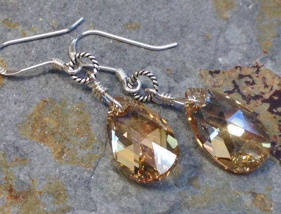Swarovski crystal earrings-925 sterling silver by Emmalishop